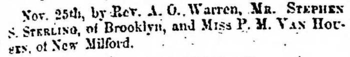 """Married, Stephen S. Sterling and P. M. Van Housen,"" marriage announcement, Montrose Independent Republican (Montrose, Pennsylvania), 3 Dec 1857, p. 3, col. 1."