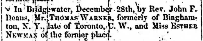 """""""Married, Thomas Warner and Esther Newman"""" marriage announcement, Montrose Independent Republican (Montrose, Pennsylvania), 4 Jan 1855, p. 3, col. 2."""