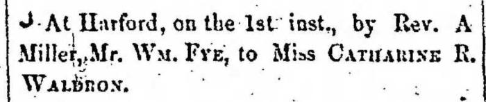 """Married, William Fye and Catharine R Waldron,"" marriage announcement, Montrose Democrat (Montrose, Pennsylvania), 9 Jan 1857, p. 2, col. 6."