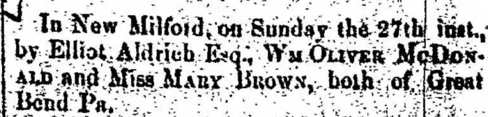 """Married, William Oliver McDonald and Mary Brown,"" marriage announcement, Montrose Democrat (Montrose, Pennsylvania), 30 Apr 1857, p. 2, col. 7."