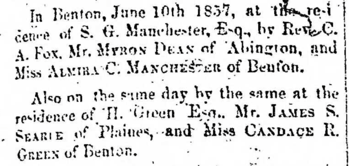 """""""Married, James S. Searle and Candace R. Green"""" marriage announcement, Montrose Democrat (Montrose, Pennsylvania), 18 June 1857, p. 3, col. 1."""
