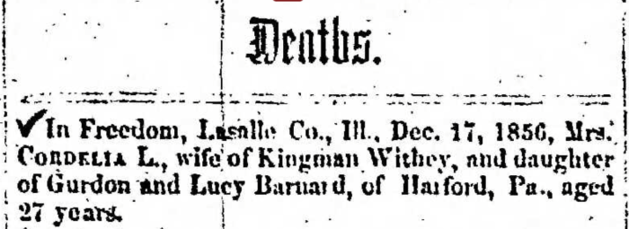 """Mrs. Cordelia L. Barnard Withey,"" obituary, Montrose Independent Republican (Montrose, Pennsylvania), 15 Jan 1857, p. 3, col. 3."