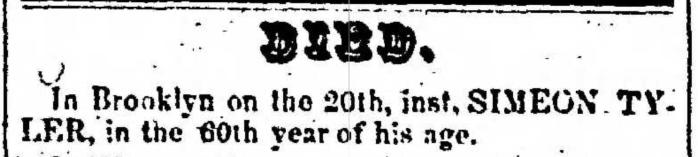 """Simeon Tyler,"" death notice, Montrose Democrat (Montrose, Pennsylvania), 29 Oct 1857, p. 3, col. 2."