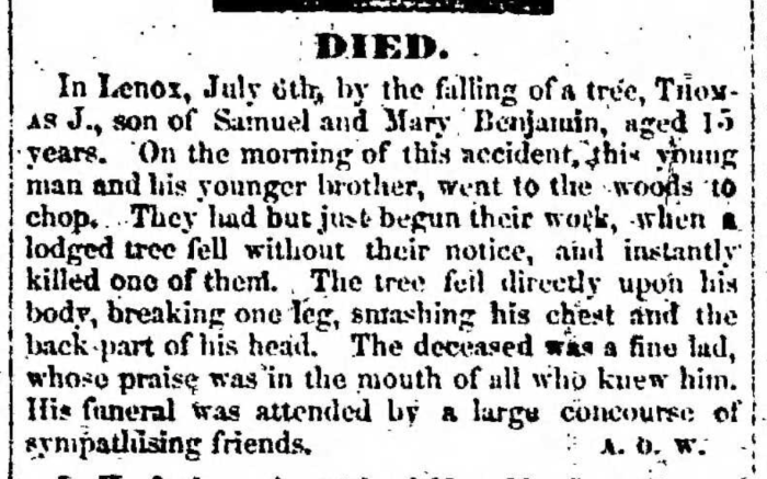 """Thomas Benjamin"", obituary, Montrose Independent Republican (Montrose, Pennsylvania), 16 July 1857, p. 3, col. 2."