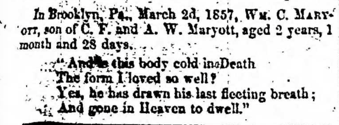 """William C. Maryott,"" obituary, Montrose Independent Republican (Montrose, Pennsylvania), 12 Mar 1857, p. 3, col. 1."