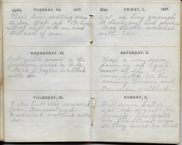 Ann M. Hull, Diary of 1857, (Susquehanna County, Pennsylvania), 1-3 May 1857, privately held by Faulkner-Hull Collection