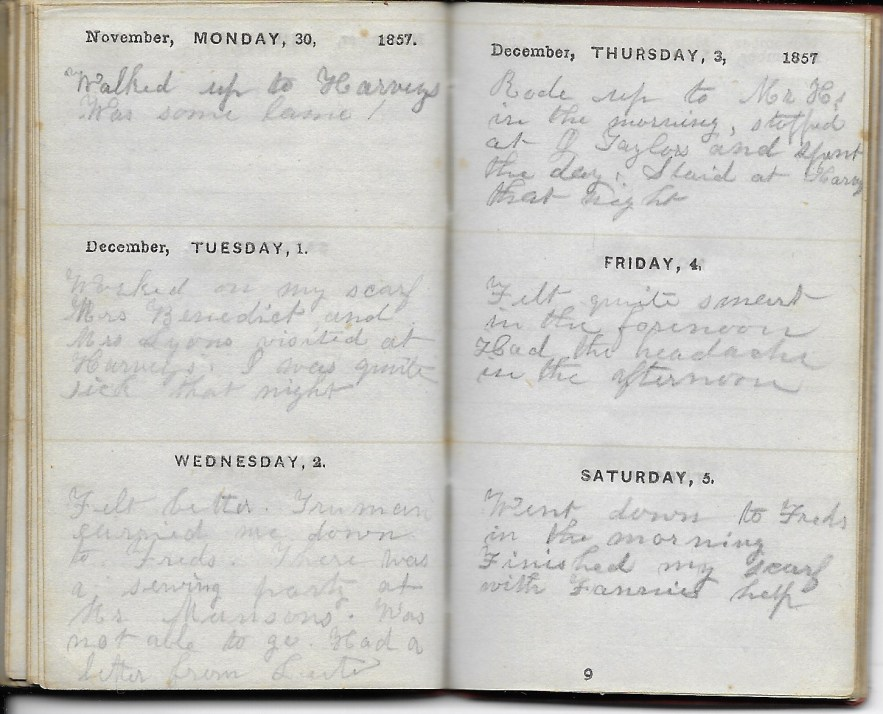 Ann M. Hull, Diary of 1857, (Susquehanna County, Pennsylvania), 1-5 December 1857, privately held by Faulkner-Hull Collection
