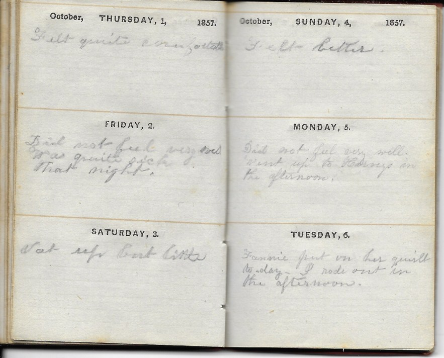 Ann M. Hull, Diary of 1857, (Susquehanna County, Pennsylvania), 1-6 October 1857, privately held by Faulkner-Hull Collection