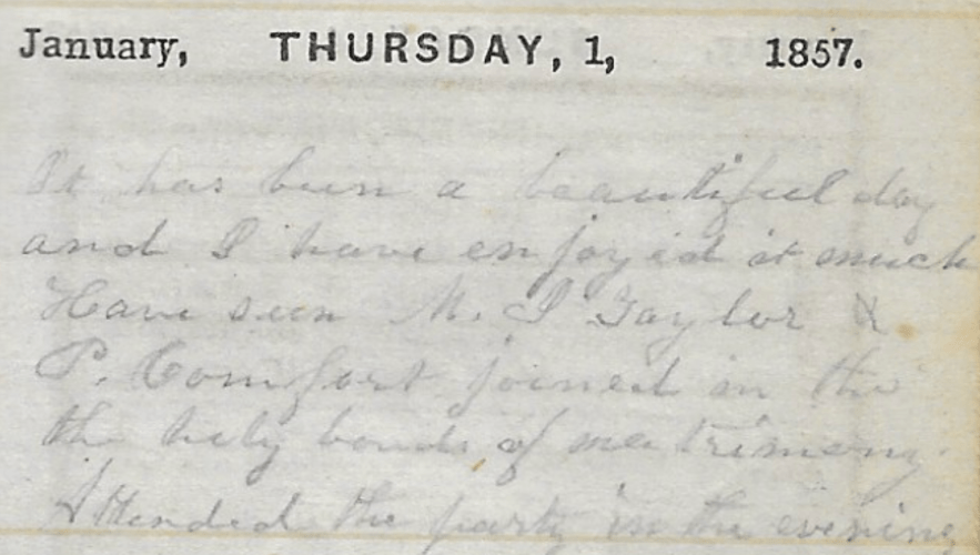 Ann M. Hull, Diary of 1857, (Susquehanna County, Pennsylvania), 1 Jan 1857 entry, privately held by Faulkner-Hull Collection.
