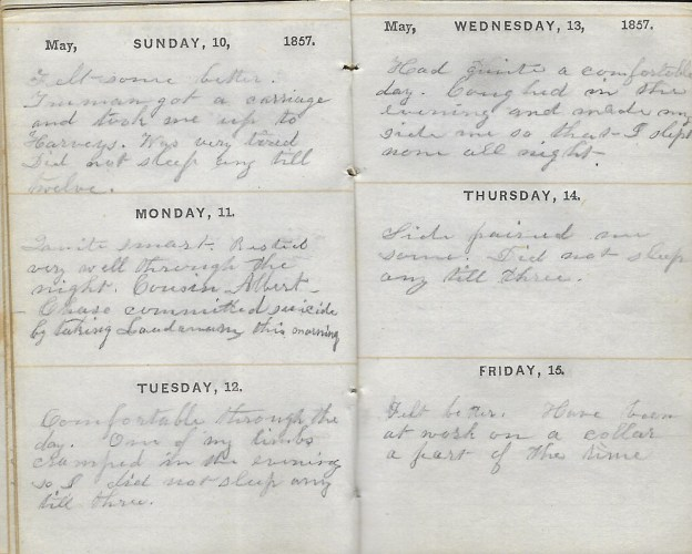 Ann M. Hull, Diary of 1857, (Susquehanna County, Pennsylvania), 10-15 May 1857, privately held by Faulkner-Hull Collection.