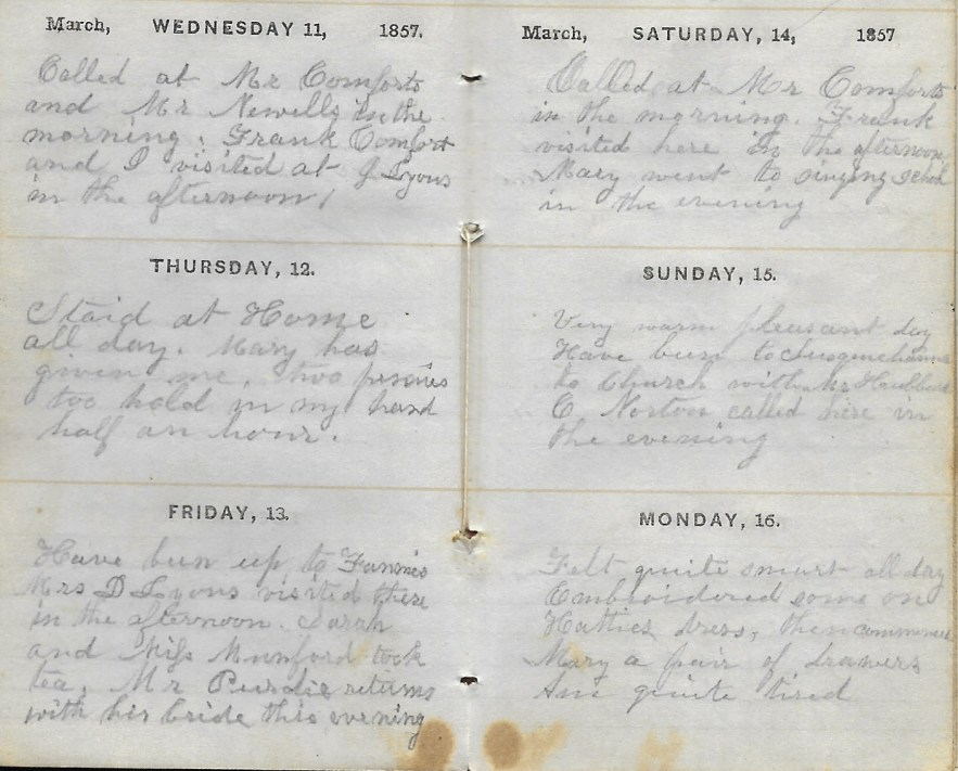 Ann M. Hull, Diary of 1857, (Susquehanna County, Pennsylvania), 11-16 March 1857, privately held by Faulkner-Hull Collection
