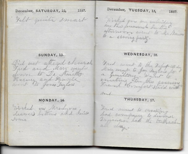 Ann M. Hull, Diary of 1857, (Susquehanna County, Pennsylvania), 12-17 December 1857, privately held by Faulkner-Hull Collection