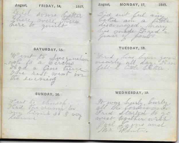 Ann M. Hull, Diary of 1857, (Susquehanna County, Pennsylvania), 14-19 August 1857, privately held by Faulkner-Hull Collection