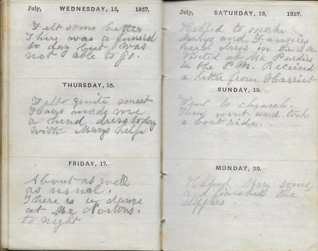 Ann M. Hull, Diary of 1857, (Susquehanna County, Pennsylvania), 15-20 July 1857, privately held by Faulkner-Hull Collection