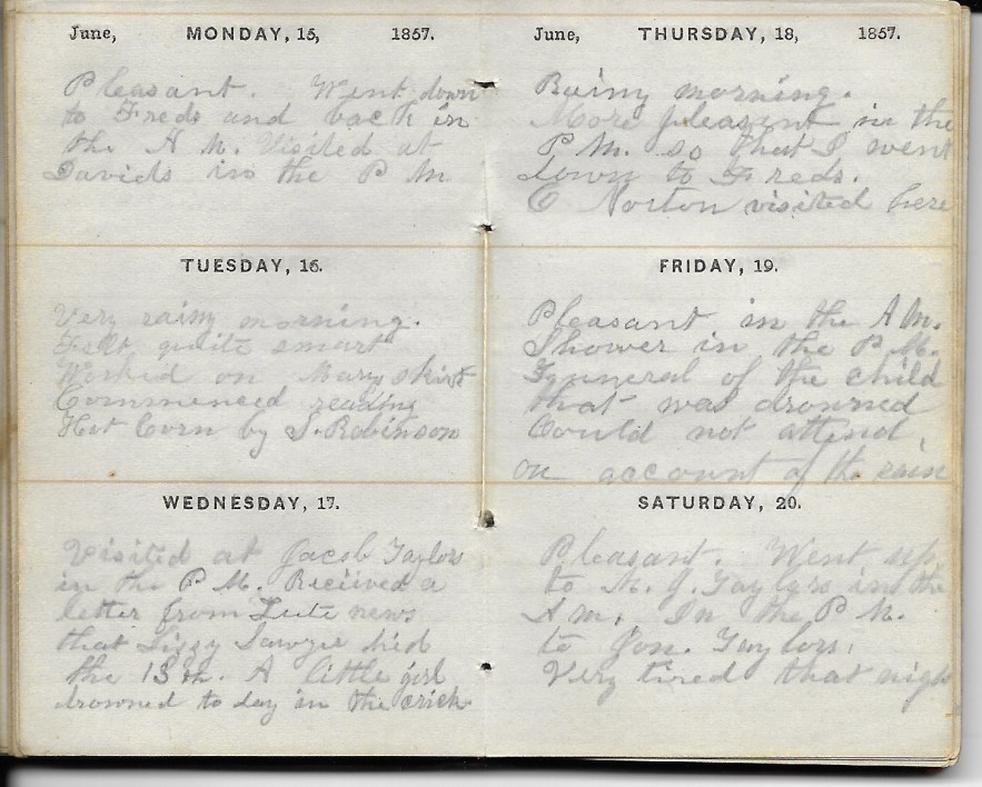 Ann M. Hull, Diary of 1857, (Susquehanna County, Pennsylvania), 15-20 June 1857, privately held by Faulkner-Hull Collection