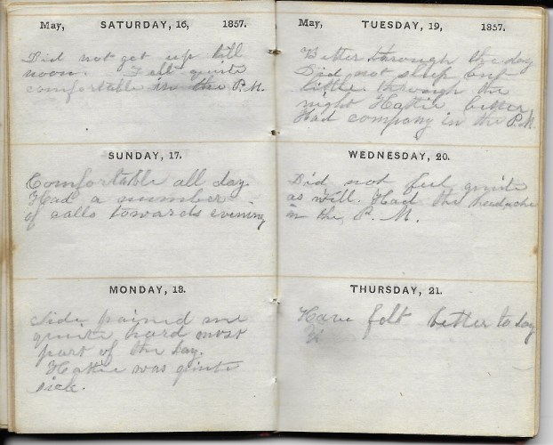 Ann M. Hull, Diary of 1857, (Susquehanna County, Pennsylvania), 16-21 May 1857, privately held by Faulkner-Hull Collection