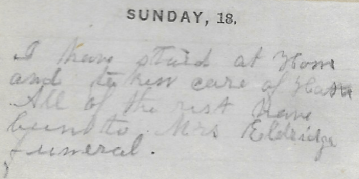 Ann M. Hull, Diary of 1857, (Susquehanna County, Pennsylvania), 18 Jan 1857 entry, privately held by Faulkner-Hull Collection.