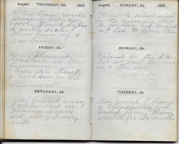 Ann M. Hull, Diary of 1857, (Susquehanna County, Pennsylvania), 20-25 August 1857, privately held by Faulkner-Hull Collection