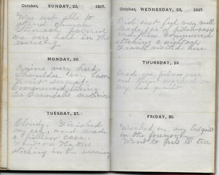 Ann M. Hull, Diary of 1857, (Susquehanna County, Pennsylvania), 25-30 October 1857, privately held by Faulkner-Hull Collection