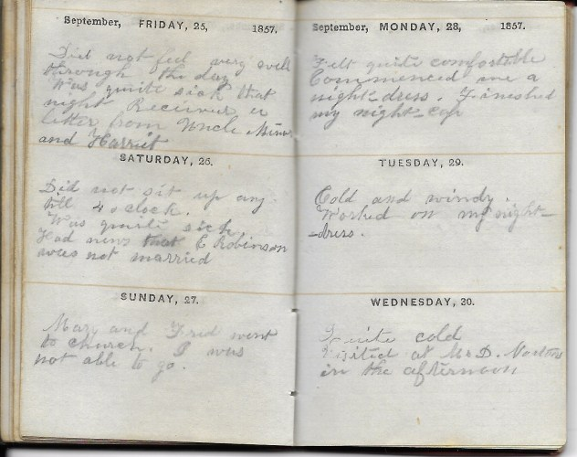 Ann M. Hull, Diary of 1857, (Susquehanna County, Pennsylvania), 25-30 September 1857, privately held by Faulkner-Hull Collection