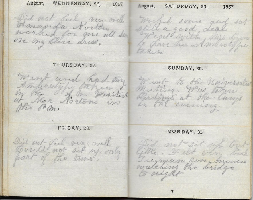 Ann M. Hull, Diary of 1857, (Susquehanna County, Pennsylvania), 26-31 August 1857, privately held by Faulkner-Hull Collection
