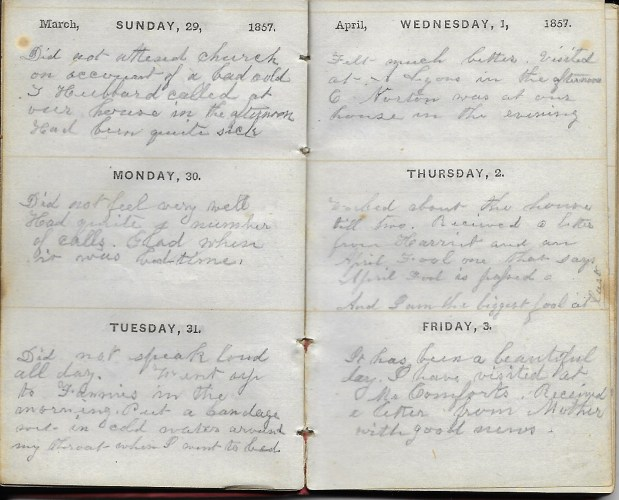 Ann M. Hull, Diary of 1857, (Susquehanna County, Pennsylvania), 29-31 March 1857, privately held by Faulkner-Hull Collection