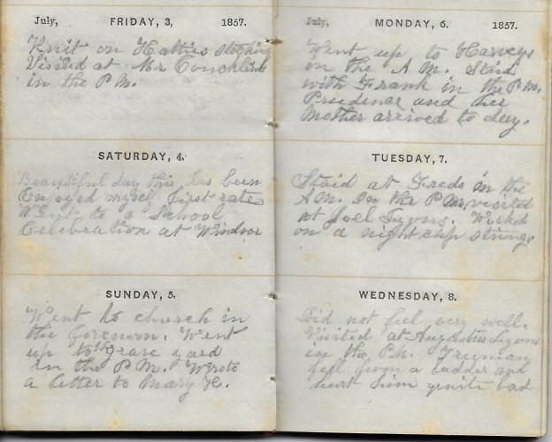 Ann M. Hull, Diary of 1857, (Susquehanna County, Pennsylvania), 3-8 July 1857, privately held by Faulkner-Hull Collection