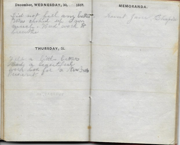 Ann M. Hull, Diary of 1857, (Susquehanna County, Pennsylvania), 30-31 December 1857, privately held by Faulkner-Hull Collection