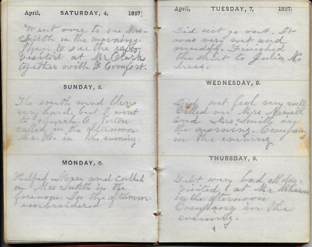 Ann M. Hull, Diary of 1857, (Susquehanna County, Pennsylvania), 4-9 April 1857, privately held by Faulkner-Hull Collection