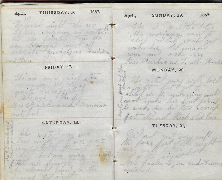 Ann M. Hull, Diary of 1857, (Susquehanna County, Pennsylvania), 16-21 April 1857, privately held by Faulkner-Hull Collection