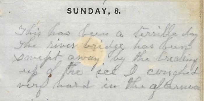 Ann M. Hull, Diary of 1857, (Susquehanna County, Pennsylvania), 8 Feb 1857 entry, privately held by Faulkner-Hull Collection.