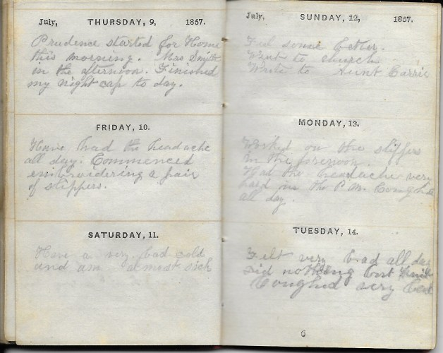 Ann M. Hull, Diary of 1857, (Susquehanna County, Pennsylvania), 9-14 July 1857, privately held by Faulkner-Hull Collection