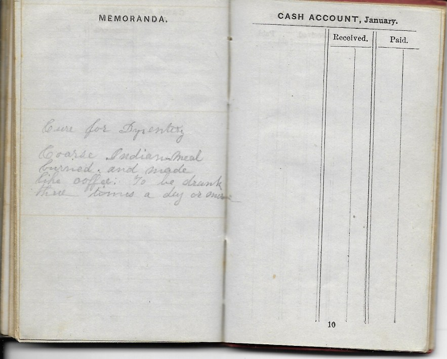 Ann M. Hull, Diary of 1857, (Susquehanna County, Pennsylvania), Cure of Dysentery in back of diary, privately held by Faulkner-Hull Collection