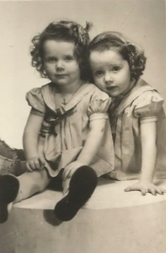 Daughters of Frances May Faulkner Fancher and Leonard Fancher: Judith (on left) and Susanne (on right) Fancher, age 4 and 5. Frances M. Fancher (1901-1951). Photo from the photo collection of Frances' daughter, Judith Hatch.