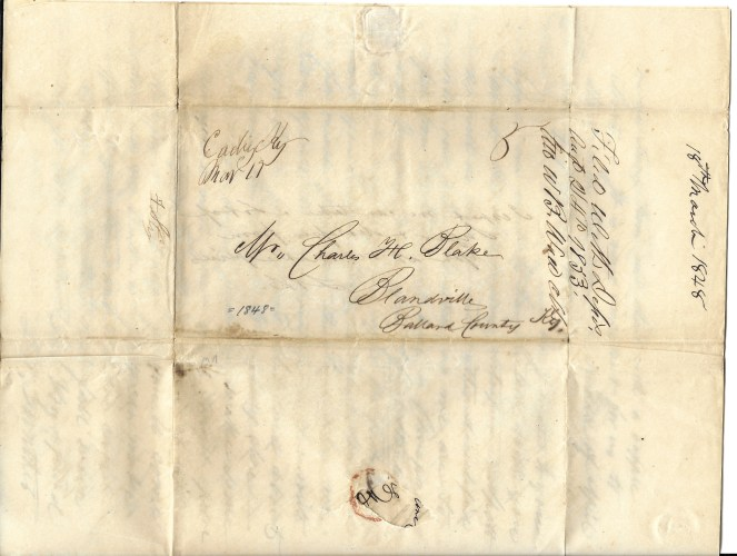 L. W. Gunther (Cadiz, Kentucky) to Charles H. Blake (Blandsville, Kentucky), letter address, 18 Mar 1848
