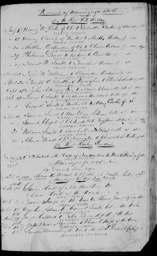 Sandisfield, Berkshire County, Massachusetts, Town Record, Marriages, Births and Deaths, vol. 1, p. 303, George Hubbard–Julia Bosworth, marriage 29 Mar 1836.
