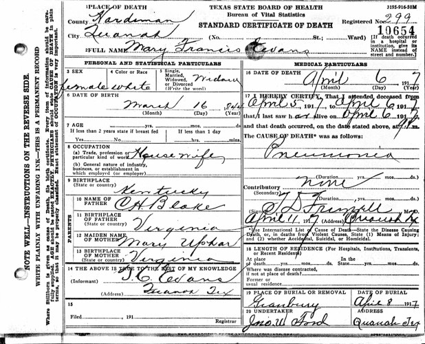 State of Texas, Department of Health, Bureau of Vital Statistics, certificate of death, no. 10654, Mary Francis Evans, 6 Apr 1917
