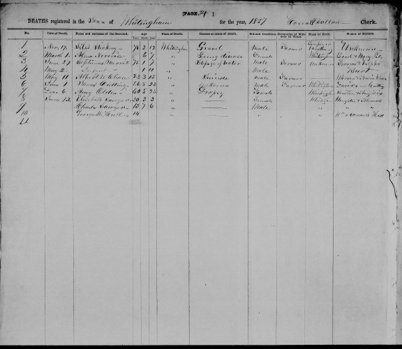 Whitingham, Windham County, Vermont, Deaths Register 1857, p. 34, no. 5, Albert W. Chase, 11 May 1857.