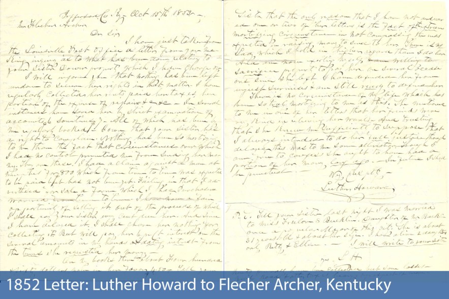 1852 Letter: Luther Howard to Flecher Archer, Kentucky