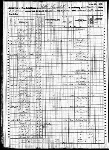 1860 U.S. census, Polk Township, Dade County, Missouri, population schedule, p. 52, dwelling 352, James C. Hooper household.