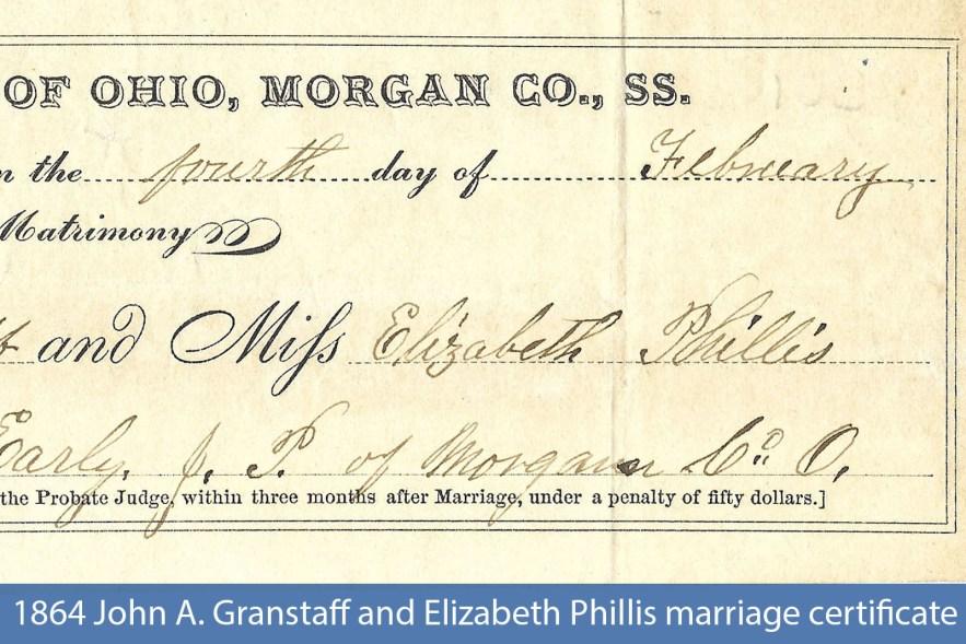 1864 John A. Granstaff and Elizabeth Phillis marriage certificate