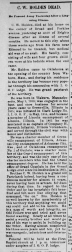 """C. W. Holden Dead,"" Clifford W. Holden obituary, The Weekly Oklahoma State Capital (Guthrie, Oklahoma), 25 Dec 1897 p. 8, col. 1."