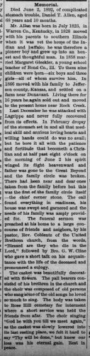 """Daniel T. Allen,"" memorial, The Valley Falls Vindicator (Valley Falls, Kansas), 18 June 1892, p. 5, col. 4."