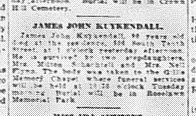 """James John Kuykendall,"" obituary, Terre Haute Tribune (Wabash Valley, Indiana), 8 Apr 1946, p. 2, col. 3."