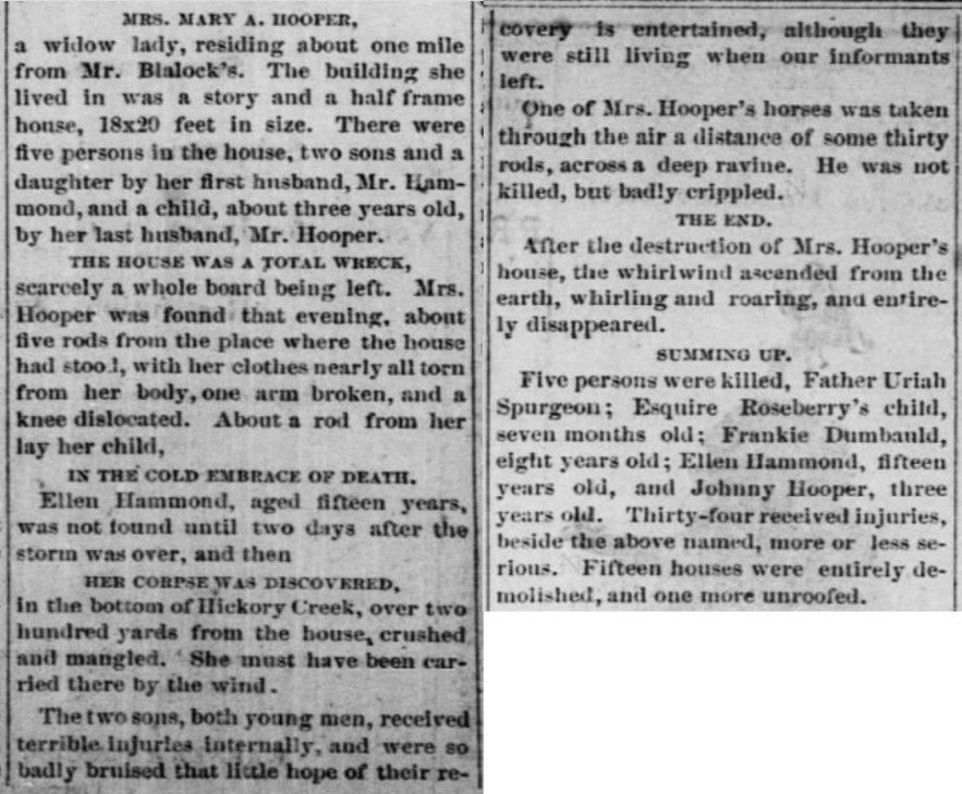 """Johnny Hooper, Age 3, and Ellen Hammond, Age 15, Killed,"" Terrible Tornado news article, The Girard Press (Girard, Kansas), 29 May 1873, p. 3, col. 3."