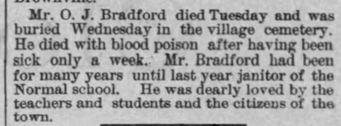 """O. J. Bradford,"" obituary, The Nebraska State Journal (Lincoln, Nebraska), 9 Jan 1887, p. 10, col. 7."