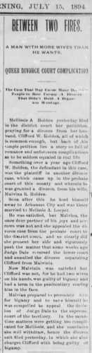 """""""Queer Divorce Court Complication,"""" Clifford W. Holden divorce, The Guthrie Daily Leader (Guthrie, Oklahoma), 15 July 1894, p. 1, col. 5."""