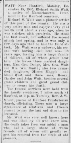 """Richard Smith Wait,"" obituary, Hanford Semi-Weekly Journal (Hanford, California), 22 Dec 1905, p. 4, col. 2."