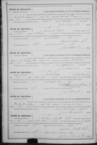 Benton County, Arkansas, Marriage Record, vol. B. p. 2, M. M. Hooper–Emma D. Rife, 4 Nov 1877.