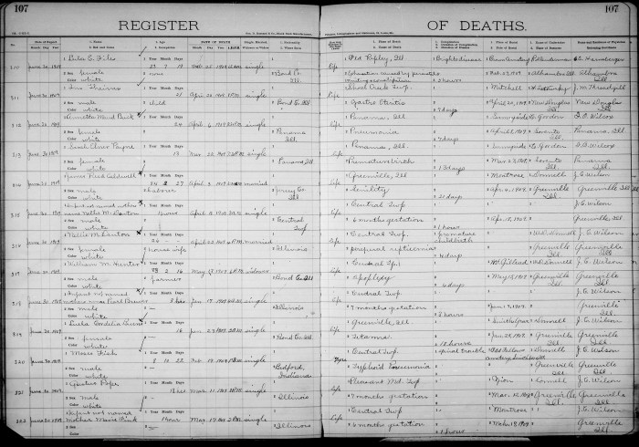 Bond County, Illinois, Death Register, vol. B, p. 107, no. 317, William M. Hunter, 13 May 1909.